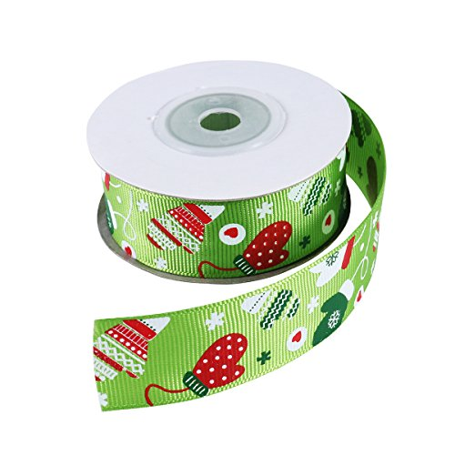 Christmas Box Patterns (Tinksky Christmas Holiday Winter Grosgrain Ribbon Gloves Pattern Satin Ribbon For Candy Box Gift Wrapping DIY Crafts Patchwork Decoration Appliques 10 Meter (Green))