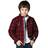 Leo&Lily Big Boys' Jacket, Checkered Red, 8