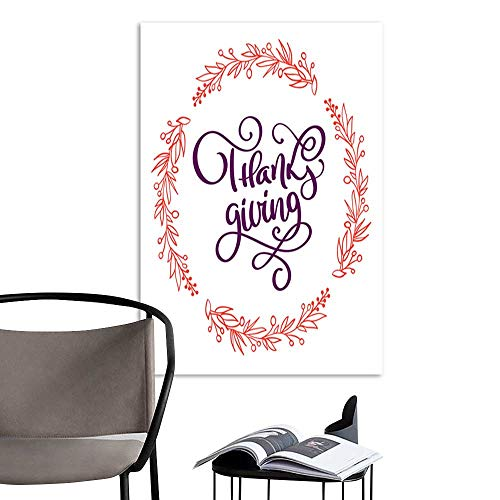 ARTS PaintingHand drawn Happy Thanksgiving typography poster Celebration lettering quotation for greeting card postcard event icon logo or badge Vector vintage style autumn calligraphy with a wreath (Icon Unframed)