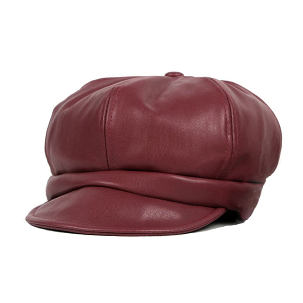 Newsboy Cap PU Leather Hat Kids Girls Boys Vintage Autumn Winter Warm 6 Panels Caps DH1509A