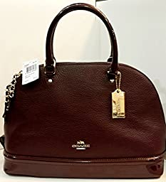 Coach Sierra Satchel in Pebble and Patent Leather, Oxblood / Gold.
