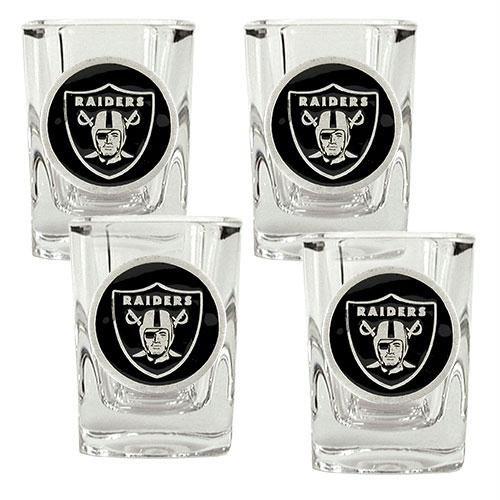 4 Piece Nba Square - NFL Oakland Raiders Four Piece Square Shot Glass Set