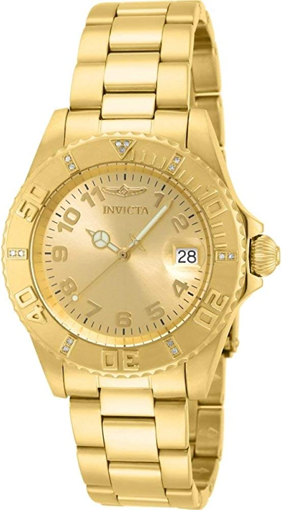 Invicta Women s 15249 Pro Diver 18k Yellow Gold Ion-Plated Stainless Steel Watch