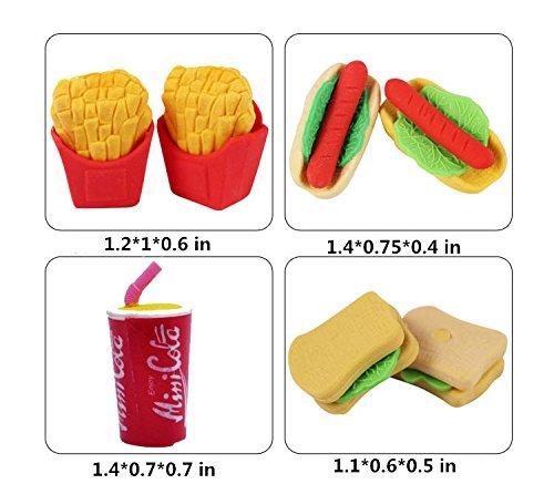 LoveInUSA Junk Food Theme Erasers Simulated Fast Food Rubber Set of 5,Cola Random Color by LoveInUSA (Image #1)