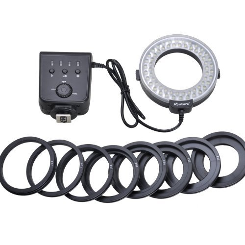 Excelvan CN48 LED Marco Ring Flash Light for Canon Nikon Panasonic DSLR Cameras+Floureon Card Reader