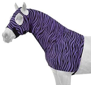 Tough 1 Spandex Mane Stay Hood with Full Zipper in Fun Prints, Purple Zebra, X-Large