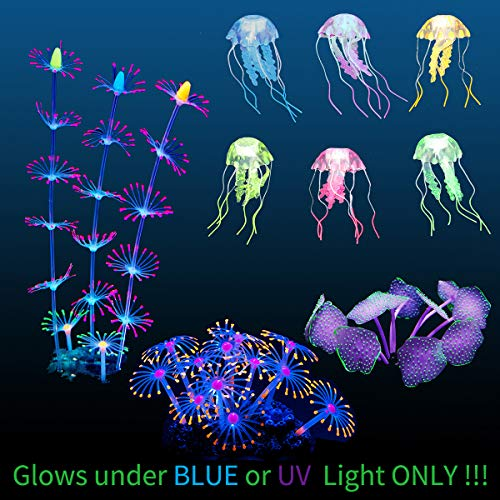 Uniclife 4 Pack Fish Tank Decorations Glowing Effect Aquarium Décor Small Silicone Artificial Jellyfish Coral Plant Ornament