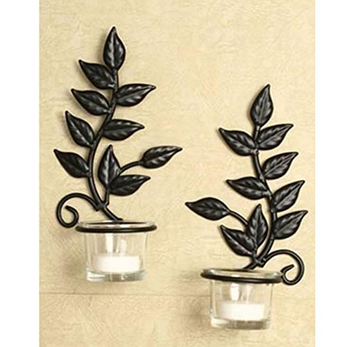 Elegant Expressions Iron Leaf Sconces Candle Holder Set of 2