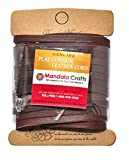 Mandala Crafts (TM) Extra Long Genuine Flat Cowhide Leather Lace Strap String Cord (5mm 5.5 Yards, Light Brown)