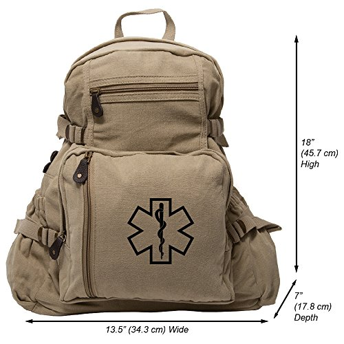 Star of Life Medical Logo Army Sport Heavyweight Canvas Backpack Bag in Khaki & Black, Large