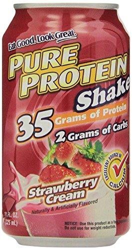 Во всем мире Nutrition - Pure протеиновый коктейль 35 граммов белка, Клубничный крем 11 унций (в упаковке 12)