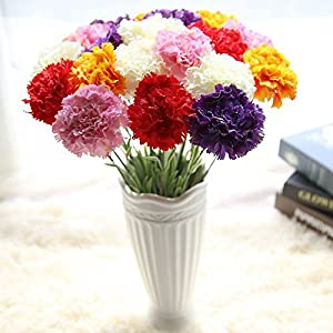 Yu2d  Artificial Fake Flowers Carnations Floral Wedding Bouquet Party Home Decor(White、 Red、 Pink、 Orange、 Purple) 108