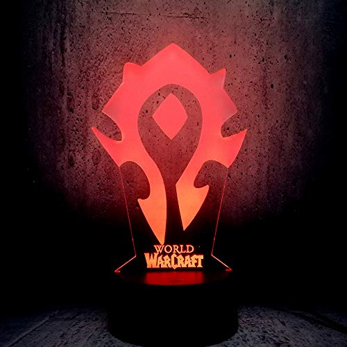 Wow 7 Color Desk Table Night Light 3D Illusion Wow World of Warcraft Tribal Signs Kids Room Decor Moon lamp Games Totem fire Torch Shape Lighting