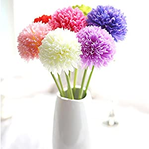 Artificial Flower 10 pcs Single Head Round Hydrangea Wedding Bouquet Bride Holding Flowers Home Living Room Decoration Party Birthday Mother's Day New Year Christmas Decor , Vase Not Included 5