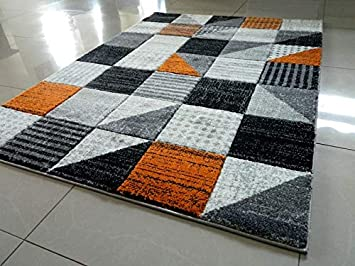 Orange Black Silver Grey Off White Spotty Squares Small Medium Xx Large Rug New Modern Soft Thick Carved Carpet Non Shed Runner Bedroom Living Room