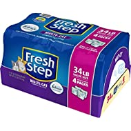 Fresh Step Multi-Cat Scented Litter with the Power of Febreze, Clumping Cat Litter, 34 Pounds, Resealable 4 Packs - 31601