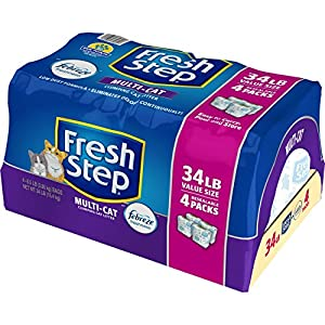 Fresh Step Multi-Cat Scented Litter with the Power of Febreze, Clumping Cat Litter, 34 Pounds, Resealable 4 Packs - 31601 36