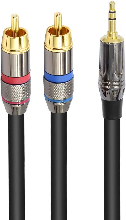 1//8 Inch Male to 2RCA Male Y Splitter Adapter Stereo Cable 3.3 Feet//1 Meter TISINO RCA to 3.5mm Cable