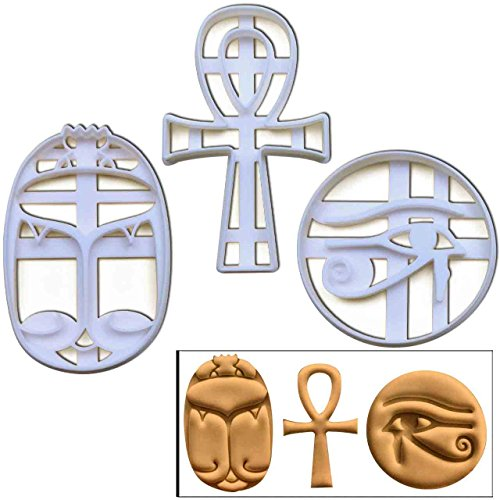 SET of 3 Egypt themed cookie cutters (Ankh, Eye of Horus and Scarab), 3 pcs, Ideal for ancient Egyptian theme party -