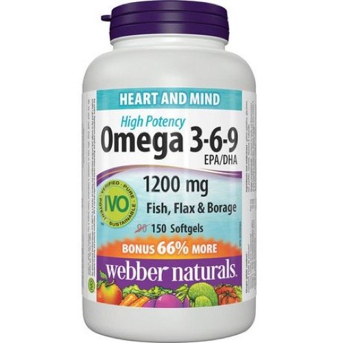 $11.47 (was $15.29) Webber Naturals Omega 3-6-9 Flaxseed, Fish and Borage Oil Softgel, 1200mg