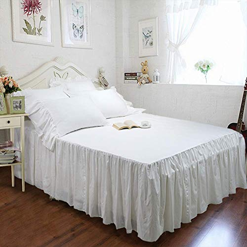 (Ruffled Bed Skirt 2 Pillow Shams Farmhouse Bedding 3 Side Coverage 24 inch Drop Dust Ruffle Bed Skirt Easy Fit Wrinkle and Fade Resistant Durable Cotton True White Twin)