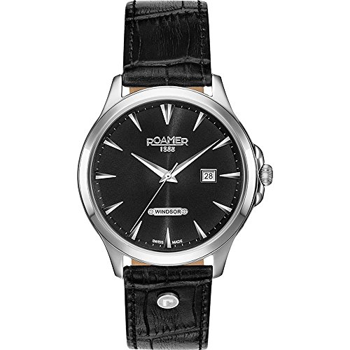 Roamer of Switzerland Men's 40mm Black Leather Band Steel Case Quartz Analog Watch 705856 41 55 07