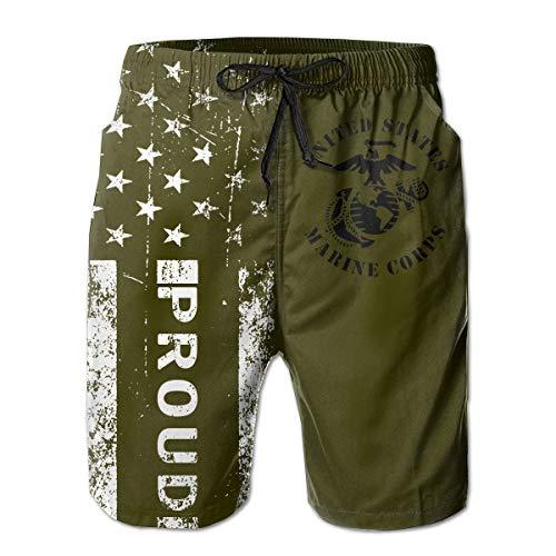 Proud American United States Marine Corps Eagle Globe Men's Swim Trunks Army Green Beach Short Board Shorts