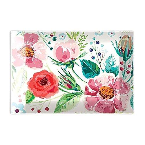 - Michel Design Works Rectangular Glass Soap Dish, Wild Berry Blossom,