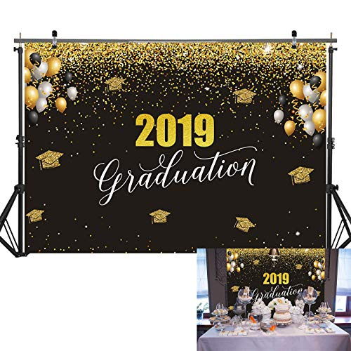 7X5FT Durable Fabric Graduation Party Banner Black and Gold Photography Backdrop for Graduation Party Supplies 2019, Celebration Background Decorations for Picture Photo Props/Booth]()