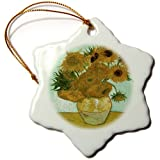 orn_119816_1 Florene Post Impressionism Art - Van Gogh Heavily Textured Still Life With 12 Sunflowers - Ornaments - 3 inch Snowflake Porcelain Ornament