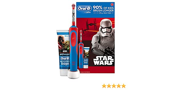 Oral B Star Wars - Cepillo electrico, recargable y pasta de dientes Oral B, color azul y rojo: Amazon.es: Salud y cuidado personal