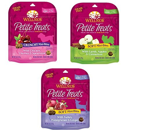 Wellness Petite Treats Natural Grain Free Small Breed Dog Treats Variety Pack - 3 Flavors - 6 Ounces Each (3 Total Pouches)