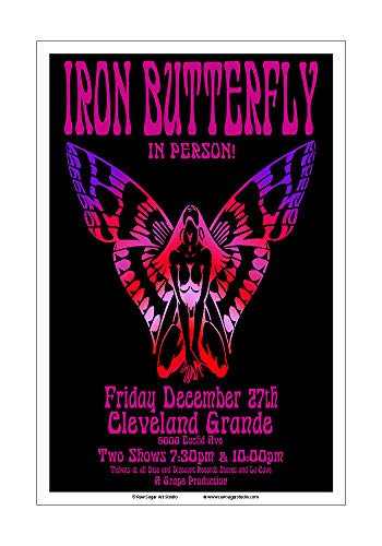 Raw Sugar Art Studio Iron Butterfly 1968 Cleveland Concert Poster ()