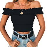 Yizenge Women's Off Shoulder Crop Tops Summer Short Sleeves Casual Slim Tees (Small, Black)