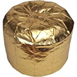 Urban Shop Metallic Morocaan Circular Pouf (Gold)