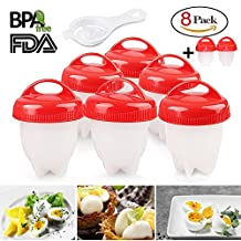 Egg Cooker 8 Pack Egg Poachers - Hard Boiled Eggs Without The Shell, BPA Free, Non Stick Silicone Egg Cups, AS SEEN ON TV, by MOOKZZ
