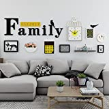 Home@Wall photo frame Modern Home Wood Photo Frame Sets Of 7 , Living Room Bedroom Sofa Background Hanging Paintings Aisle Corridor Photo Frame Combination ( Color : F , Size : 6frames/21090CM )