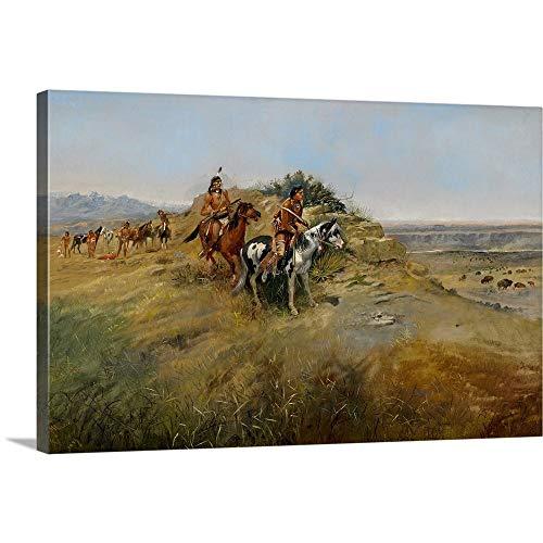Buffalo Hunt, 1891 Canvas Wall Art Print, 48 x32 x1.25