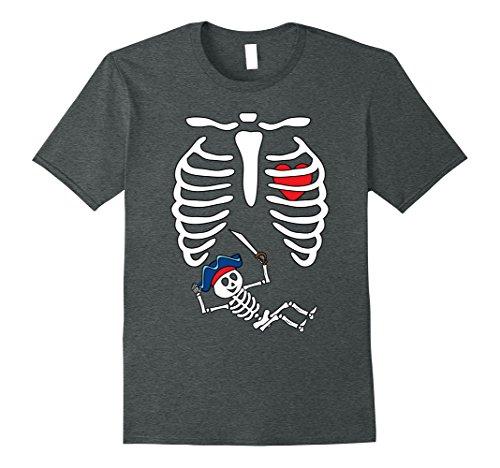 Mens Pirates Baby Skeleton Halloween Shirt Maternity X-Ray Rib 2XL Dark Heather (Maternity Pirate Costume)