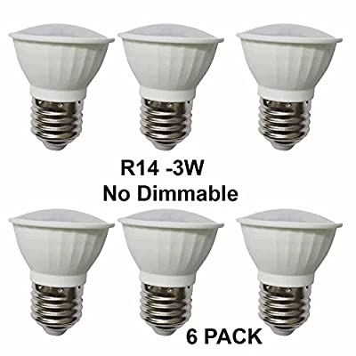 (6 Pack) 3W Cool White R14 Not Dimmable LED flood Bulbs, E26 base, 25W Incandescent Bulbs Equivalent, FCC Listed, 240lm,Angle:120 degree 5500K. ...