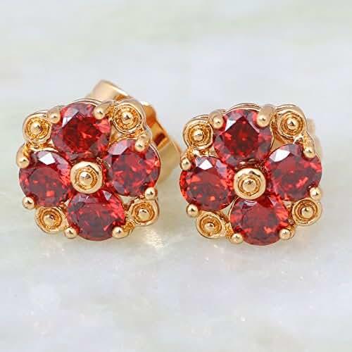 Chokushop Delicate ! 18K Yellow gold red CZ garnet stones Earrings Fashion Jewelry E184