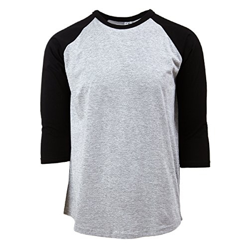 Rich Cotton Raglan T-Shirts (M, Grey/Black) ()