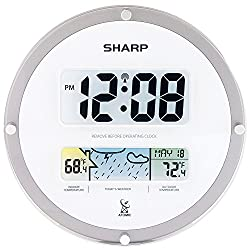 Sharp Atomic Digital Wall Clock with Wireless Weather Display (White)