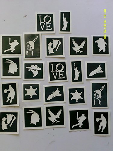 30 x USA / American themed stencils for glitter tattoos / many other uses! Statue Liberty cowboy space shuttle