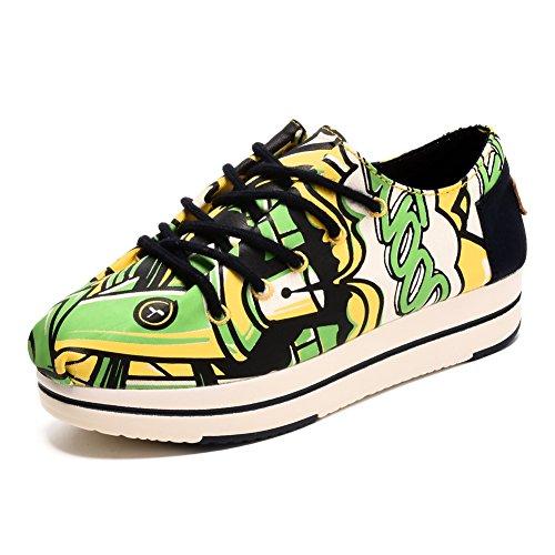 Tiosebon Donna / Grandi Ragazze Studenti Scarpe Da Ginnastica Alte In Tela Con Fibbia Slip-on Casual Sneakers 6,5 Ci Lawngreen