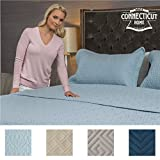 quilt cotton queen blue - The Connecticut Home Company Original Luxury Bedspread Quilt Collection (QUEEN/FULL), 3-Piece with Shams, Oversized & Thick, Quilted Pattern, Top Decorator Choice, Machine Washable (Light Blue Fleur)