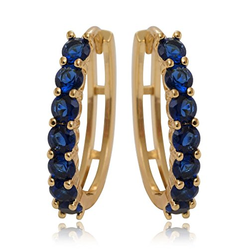 Olenata Gold CZ Hoop Earrings for Women - Cubic Zirconia Gold Plated Earrings - Simulated Blue Sapphire Earrings