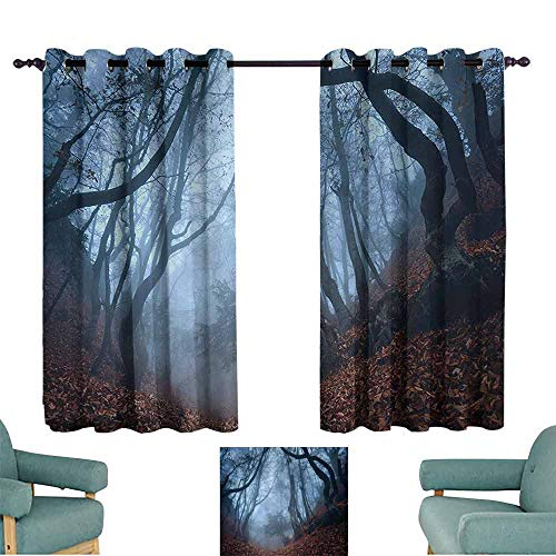 Bedroom Curtains 2 Panel Farm House Decor Collection Dim Gloomy Crimea Forest with Swirling Bushes Myst Spooky Wild Woodland Photo Light Blocking Drapes with Liner W84