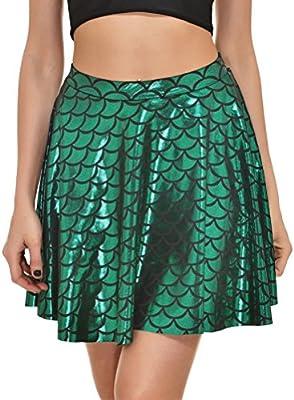 Alaroo Girls Stretchy Fish Scale Mermaid Print Flared Skater Mini Skirt S-XL