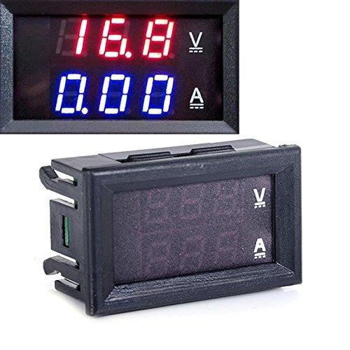 Red LED Blue DC 10A 0-100V Digital Dual Volt Panel Voltmeter Ammeter Amp...